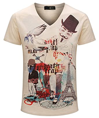 d24a22450b8 Cavlii Men s Cool Rock Roll 3D Print Everyday Cotton Thin Summer T Shirt M
