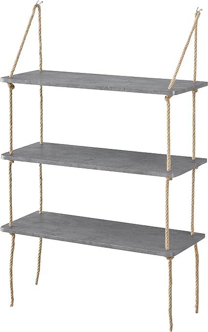 [en.casa] Estantería de Pared Decorativa con 3 estantes - estantes Colgantes con Cuerda - Efecto Cemento - 60 x 23,5 cm - Retro