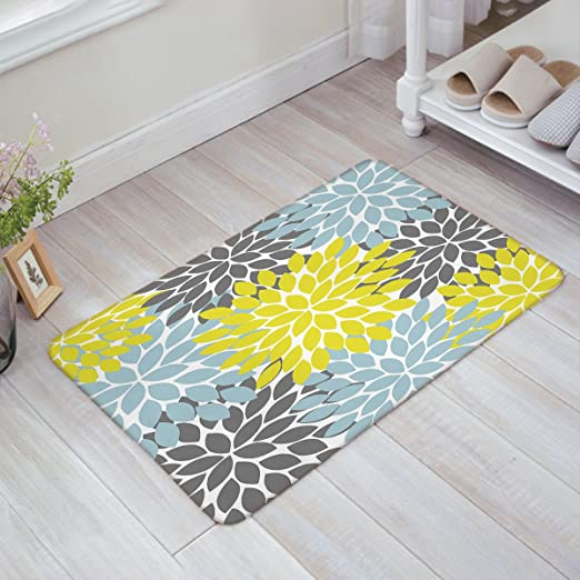 Amazon Com Indoor Doormat Stylish Welcome Mat Dahlia Flower Yellow Light Blue Dark Grey Entrance Shoe Scrap Washable Apartment Office Floor Mats Front Doormats Non Slip Bedroom Carpet Home Kitchen Rug 18 X30 Home