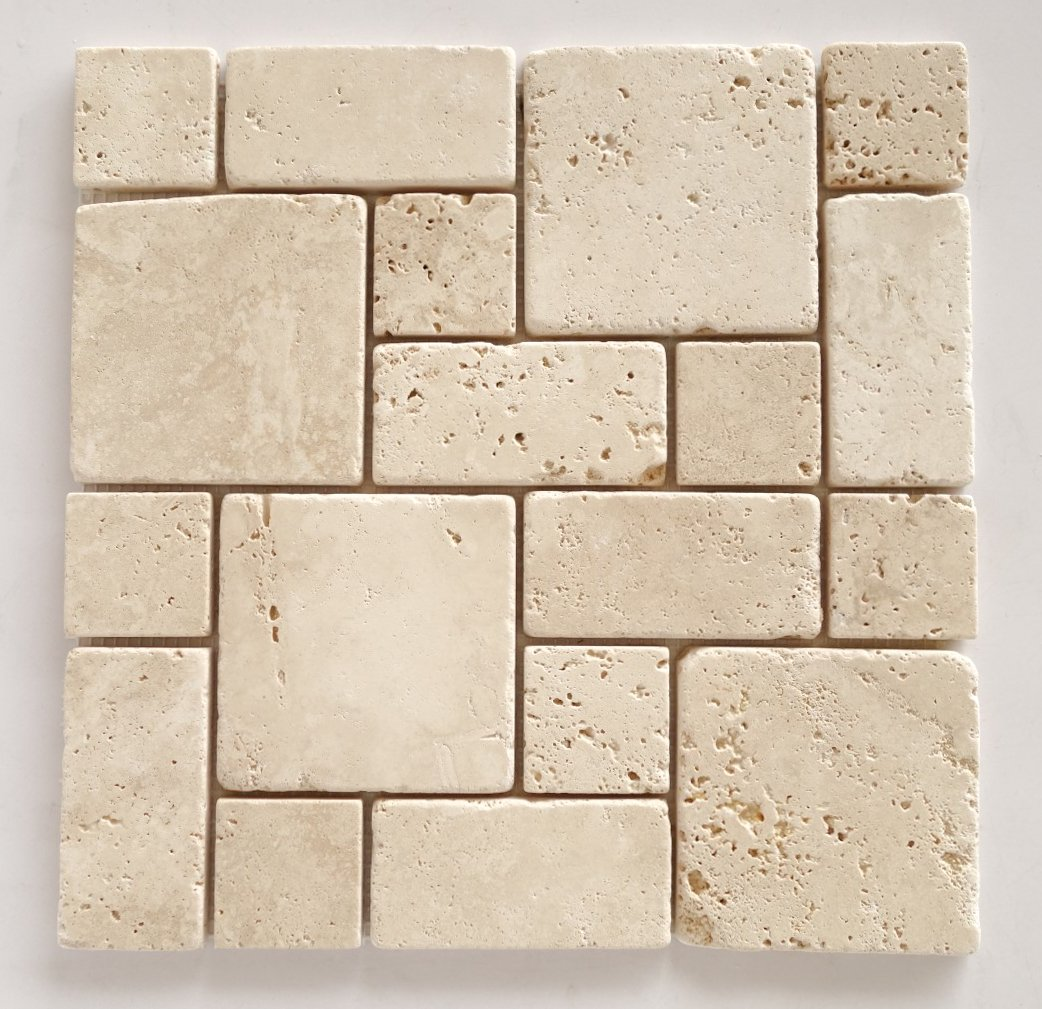 Ivory (Light) Travertine 3-Pieced Mini-Pattern Mosaic Tile, Tumbled - Lot of 15 Sheets