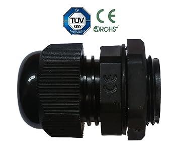 Sucre auxiliaire/® presse-/étoupes/ M8 //étanche IP68/Compression M8/M12/M16/M20/M24/M24/Noir ou blanc 1 Noir