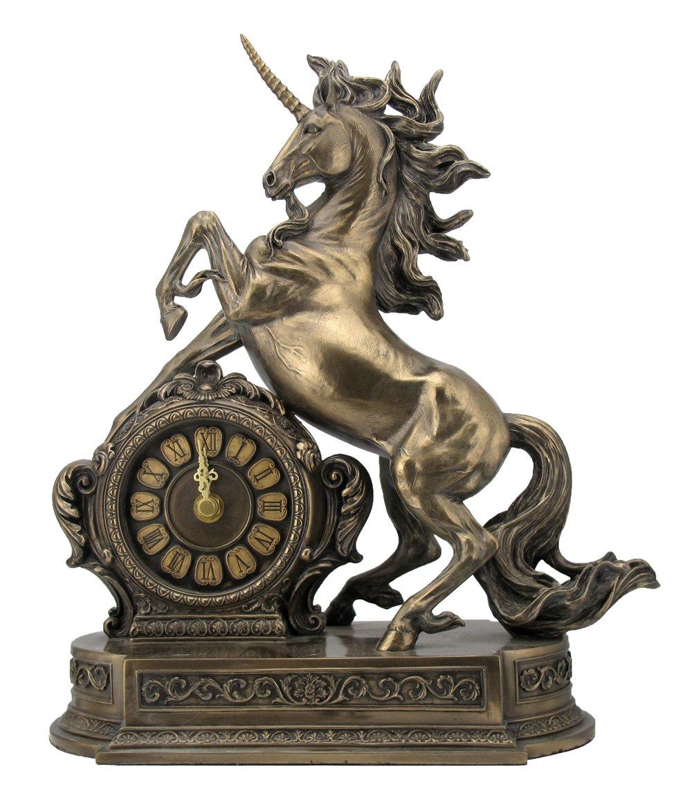 12.75 Inch Rearing Unicorn Cold Cast Bronze Figurine Clock