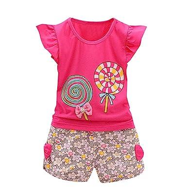 681220d0d23 ♬♬2018 Hot Sale!Todaies Summer 2PCS Toddler Kids Baby Girls Outfits T-
