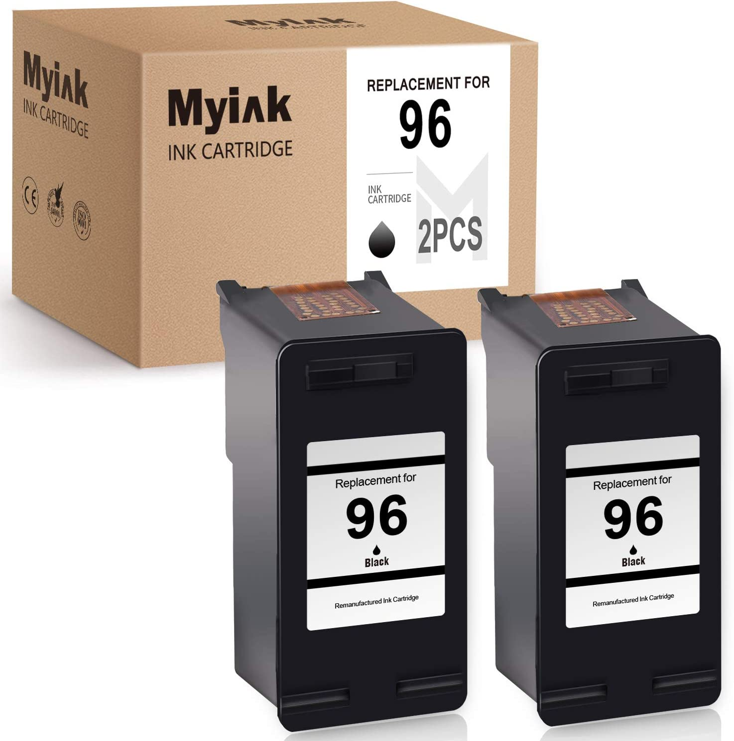 MYIK Remanufactured Ink Cartridge Replacement for HP 96 C8767WN to use with DeskJet 6940 6520 6830 5740 6988 6540 6980 OfficeJet 5745 7410 PhotoSmart 8150 8030 (Black, 2-Pack)
