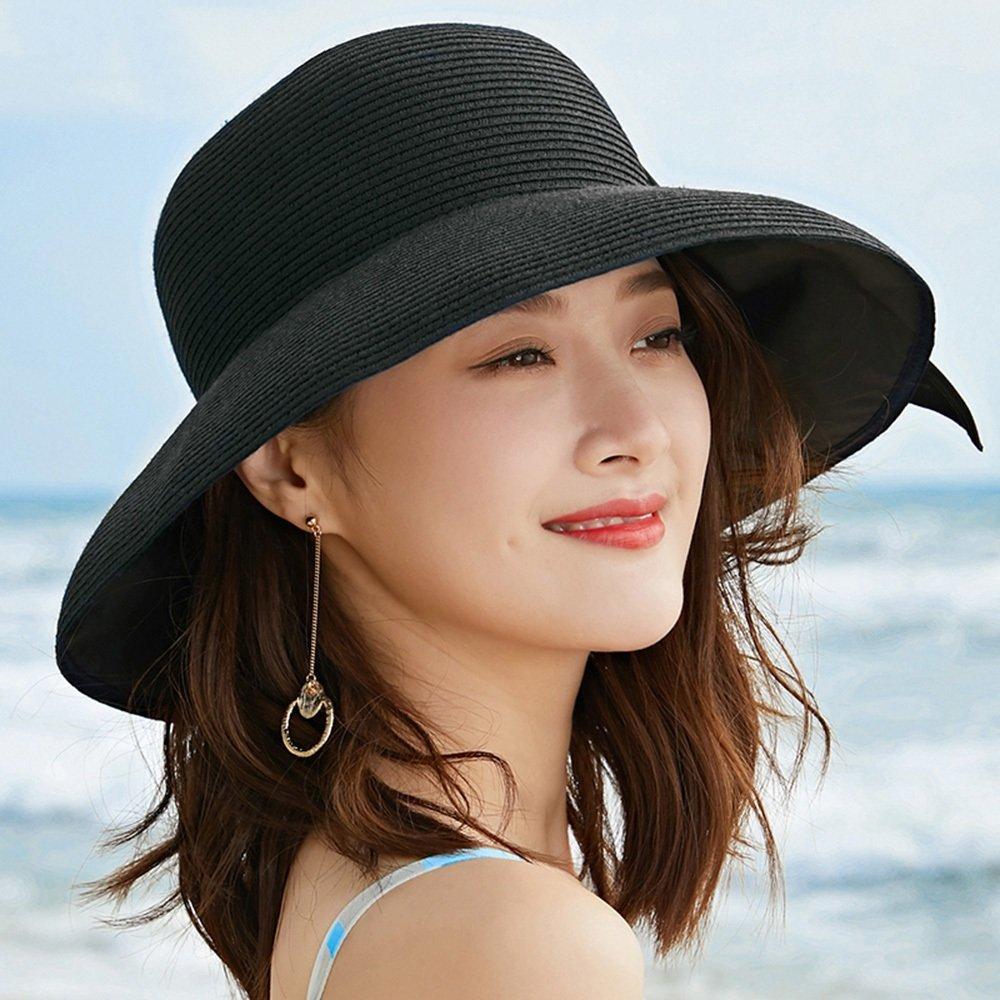 Bleu  Chapeau YANFEI Visière Solaire Sun Hat Pliable Loisirs Paille de Vacances (Couleur   Bleu)