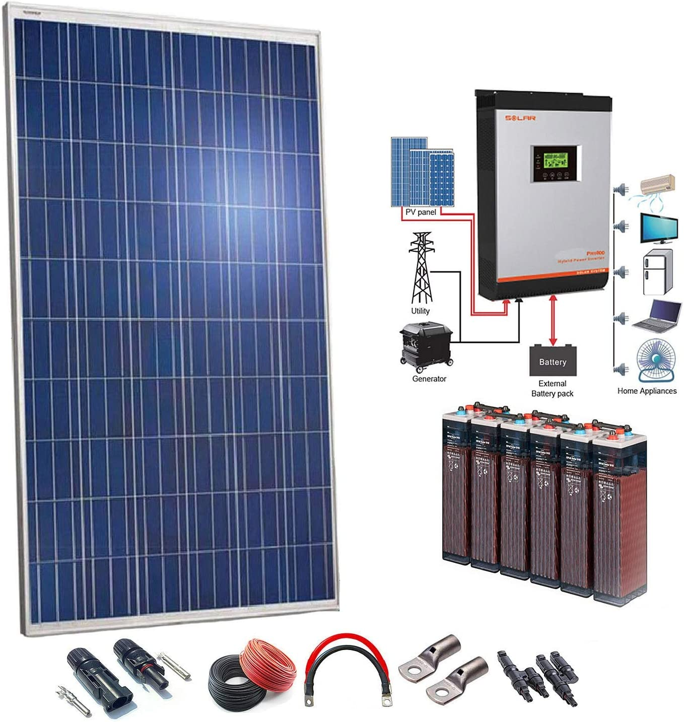 Kit Solar 24v 2500w/12500w día Batería 6OPzS 900Ah Inversor Multifunción 5kva Regulador MPPT 80A