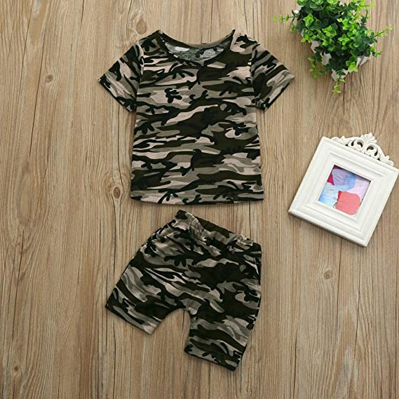 21721a6cd251 Amazon.com  Fanteecy Kids Toddler Baby Boy Summer Clothes Set Letter Print T -Shirt+Army Camouflage Shorts Outfits  Clothing