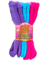 Hot Feet Girl's 2 Pairs Heavy Thermal Socks - Traps in Warmth - Fits USA Girl's Sizes 6-8.5 (Age: 5-11)