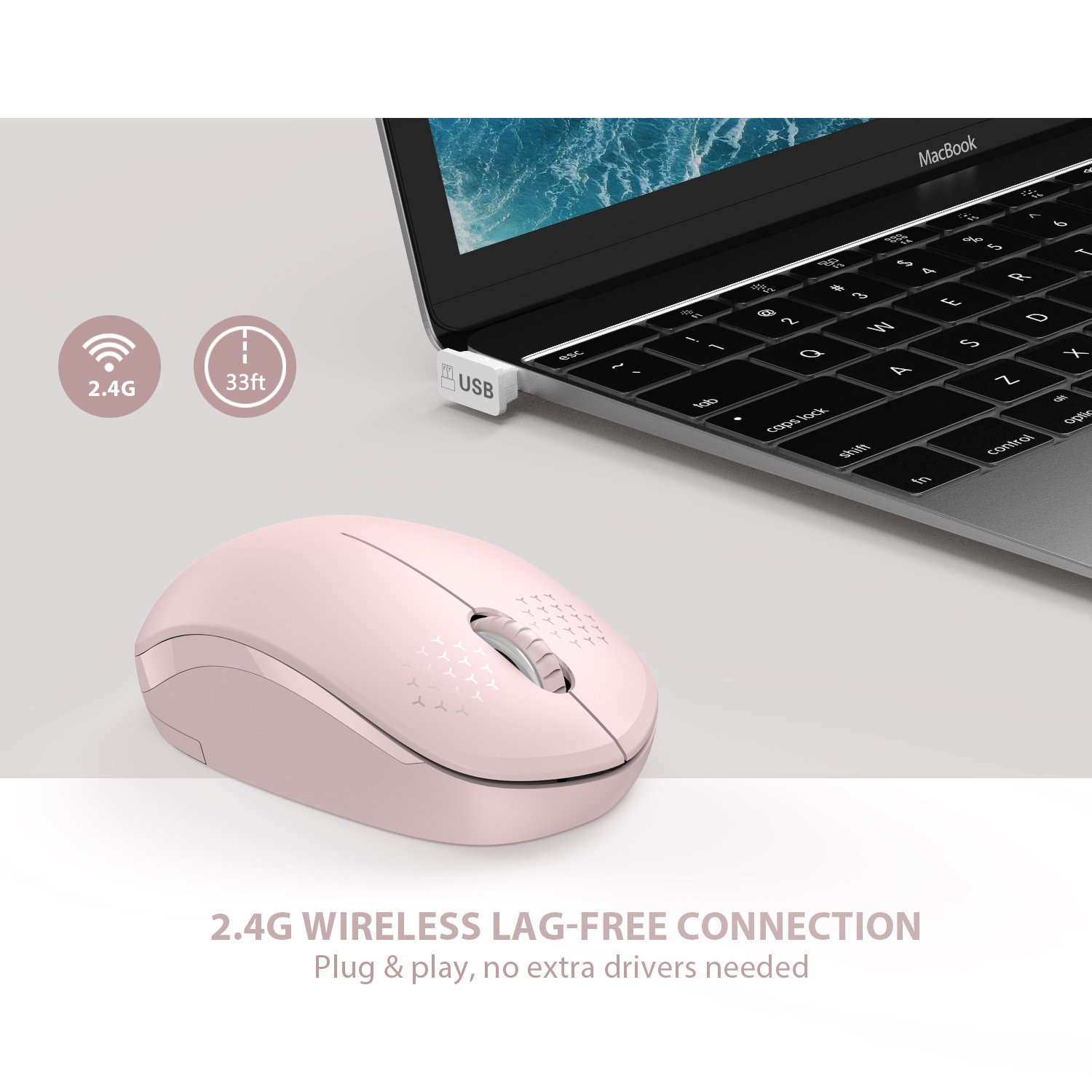 Seenda Wireless Mouse with Nano USB Receiver Noiseless 2.4G Wireless Mouse Portable Optical Mice for Notebook Laptop Purple Computer PC
