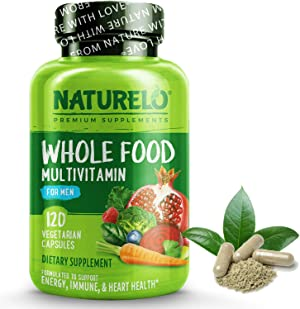 NATURELO Whole Food Multivitamin for Men - with Vitamins, Minerals, Organic Herbal Extracts - Vegetarian - for Energy, Brain, Heart, Eye Health - 120 Vegan Capsules