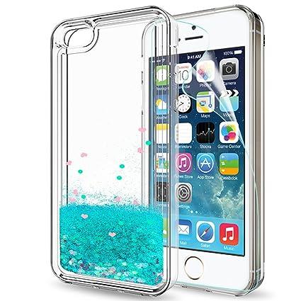 8d7aa73829dc06 iPhone 5S Case,iPhone 5 Case,iPhone SE/SE 2 Case W/HD Screen Protector,LeYi  Coque Etui Glitter Cute Clear Quicksand Liquid TPU Protective Phone ...