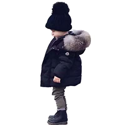 Aiffel Kids Baby Boys Girls Big Fur Collar Down Coat Jacket Winter Warm Puffer Hooded Thicken Down Windproof Jacket.