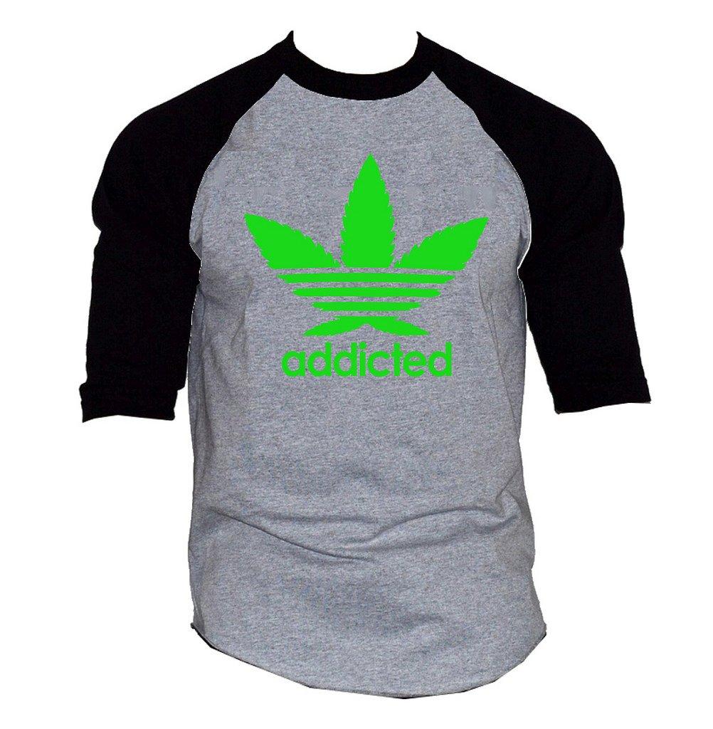 Cannabis Leaf Addicted V355 Tee Men's Gray/Black Raglan Baseball T-Shirt Gray/Black
