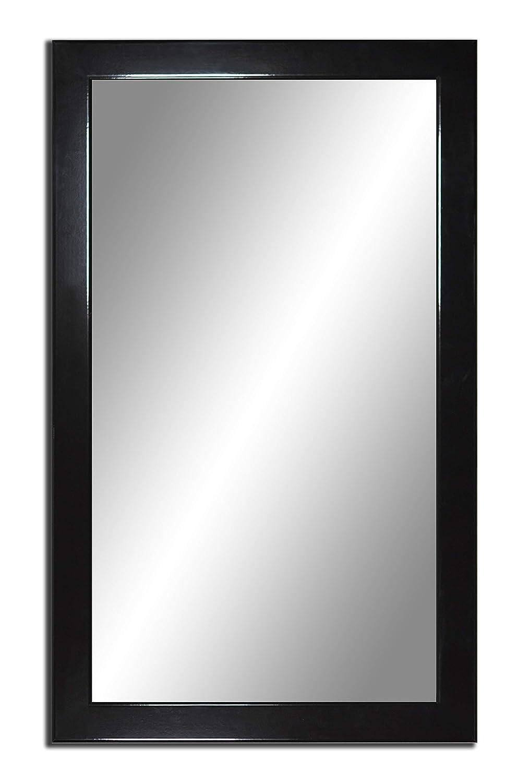100 x 70 cm, Moderner Spiegel mit Glasrahmen hohen Glanz, Rahmen Farbe  Schwarz