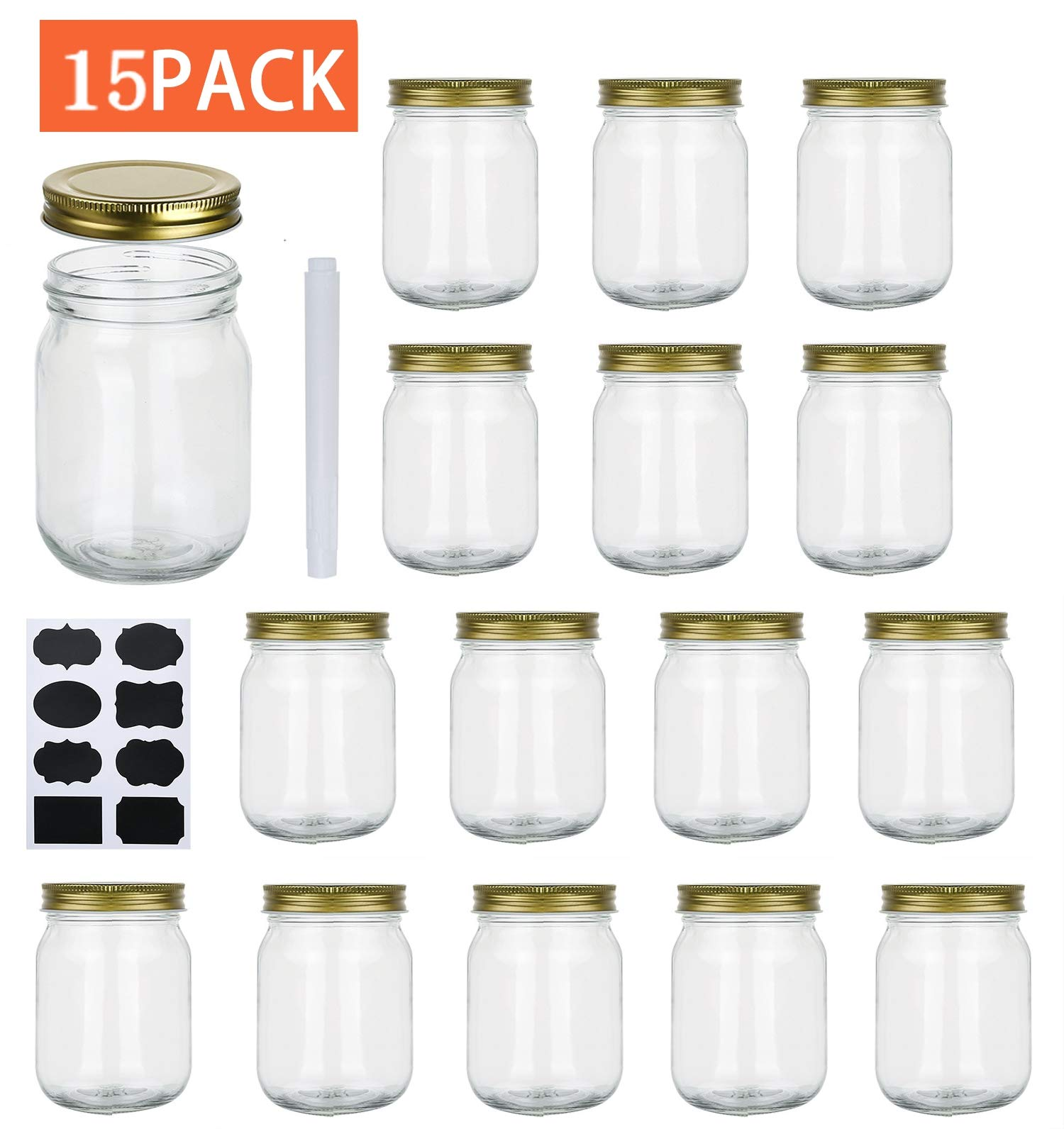 Encheng 16 oz Glass Jars With Lids,Regular Mouth Ball Mason Jars For Storage,Canning Jars For PIckles,Herb,Jelly,Jams,Honey,Dishware Safe,Set Of 15