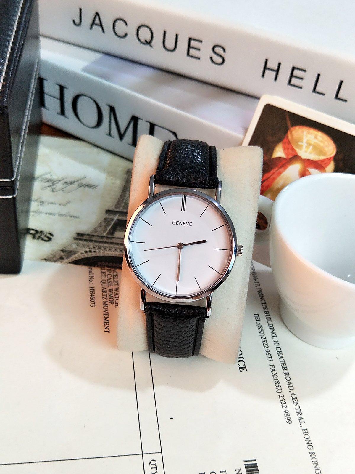 Generic School minimalism Korean pointer Buckle watch Ms. leisure Beautiful big dial couple watches