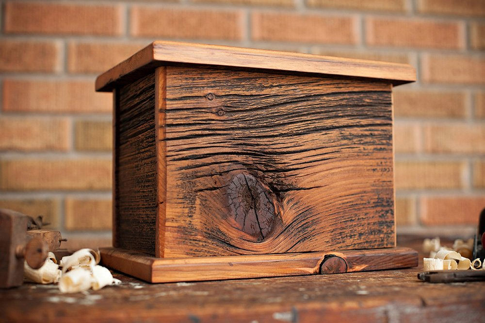 Barnwood Funeral Urn in Pine - Handcrafted in Wisconsin, USA From Vintage Barn Wood - Cremation Urn For Human Ashes & Cremated Remains - Burial Urn - Decorative Urn - Wood Urn by Northwoods Casket Company (Image #2)