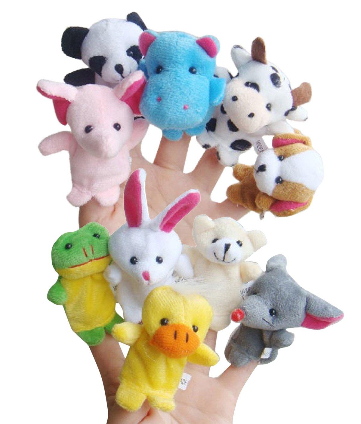 HAPPY CHERRY Gechichte Fingerpuppen Set Niedlich Cartoon Tierstyle Rollenspiele Handpuppe Plüsch Spielzeug für Kinder Frühre Bildung (10 Kasperletheater) Cartoons & Comics
