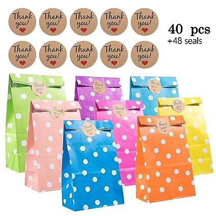Paper Bags, Comius 40 Pcs Bolsas Regalo Papel con Adhesivos Sellado para Niños Cumpleaños Navidad Suministros Banquetes de Boda (Dot)