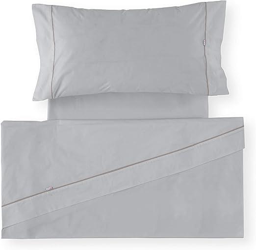 Es-Tela - Juego de sábanas liso con biés, color perla, cama de 150 ...