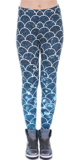 e36f2ac01321b1 Festie Fever Plus Size Buttery Soft Printed Pattern Womens Leggings (Mermaid )