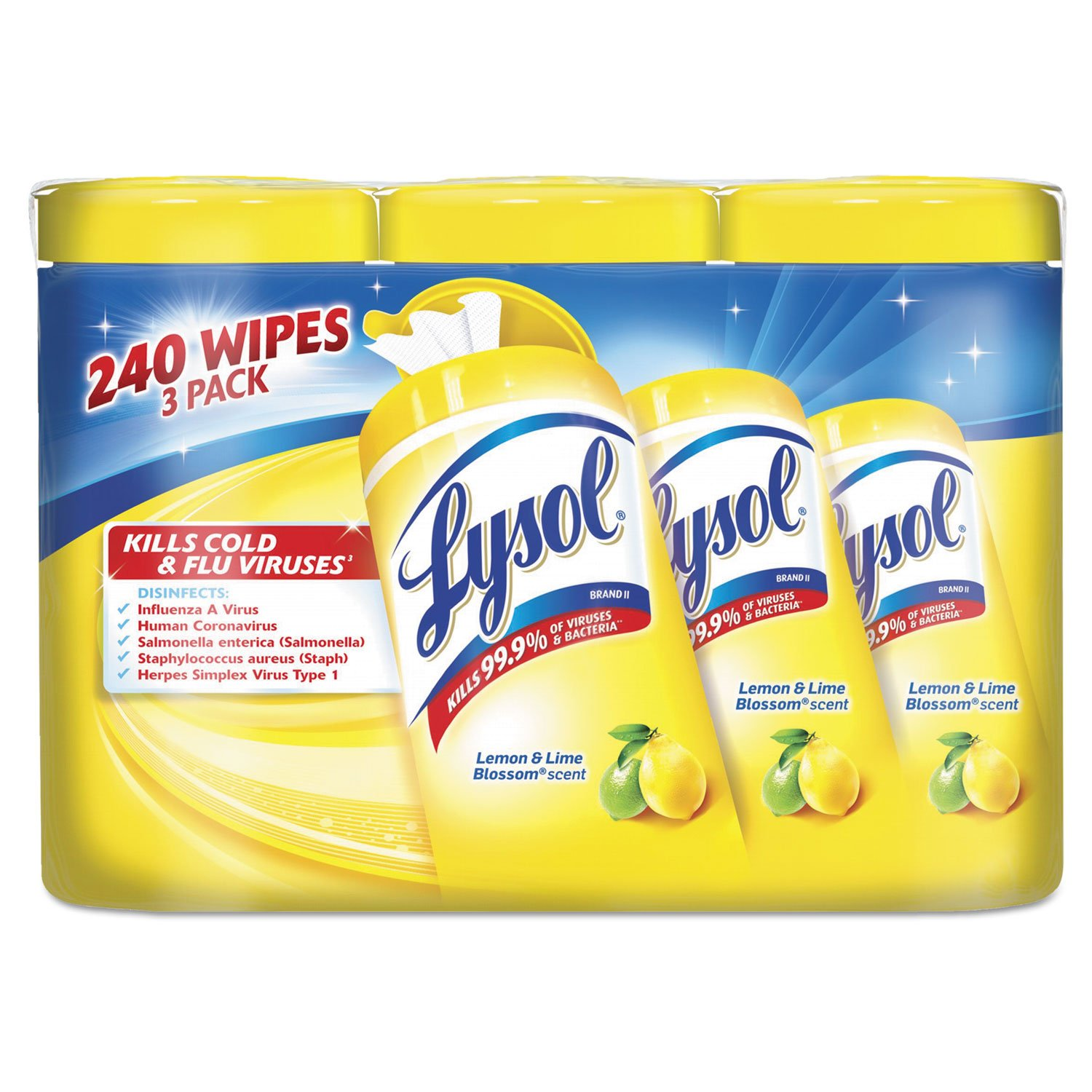 RECKITT BENCKISER PROFESSIONAL 84251CT Disinfecting Wipes, 7 x 8, Lemon And Lime Blossom, 80/Canister, 3/Pack