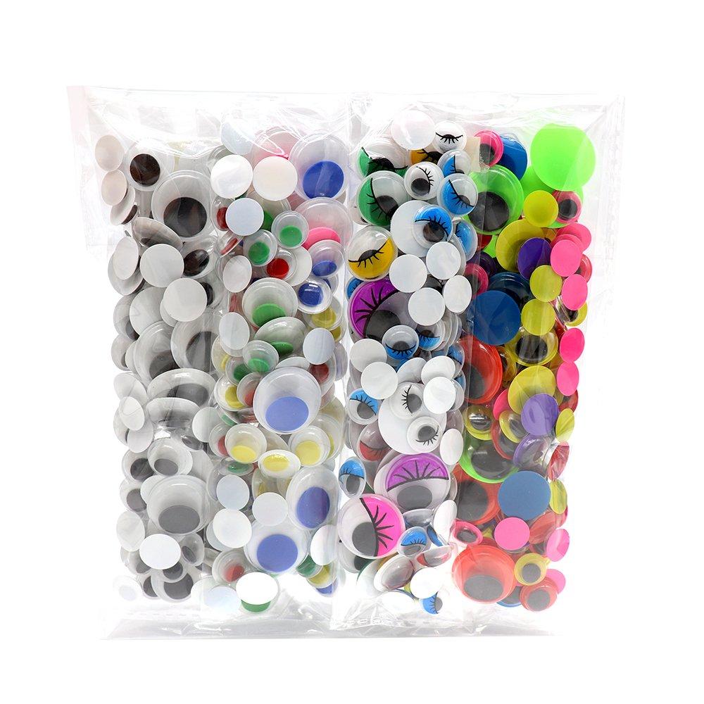 4bagsx125pcs/bag 10/12/15/20mm Without Self-adhesive Wiggle Eyes Bonus Pack Sorrento Crafts