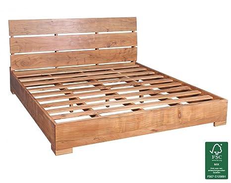 Wohnling letto matrimoniale 180 x 200 cm con doghe in legno
