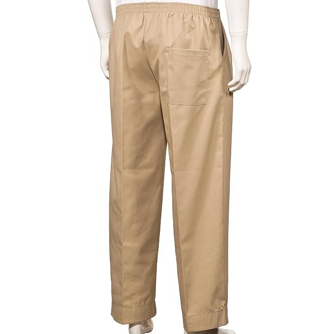5b9a1318d9 Mens Full Elastic Waist Pants with Mock Fly