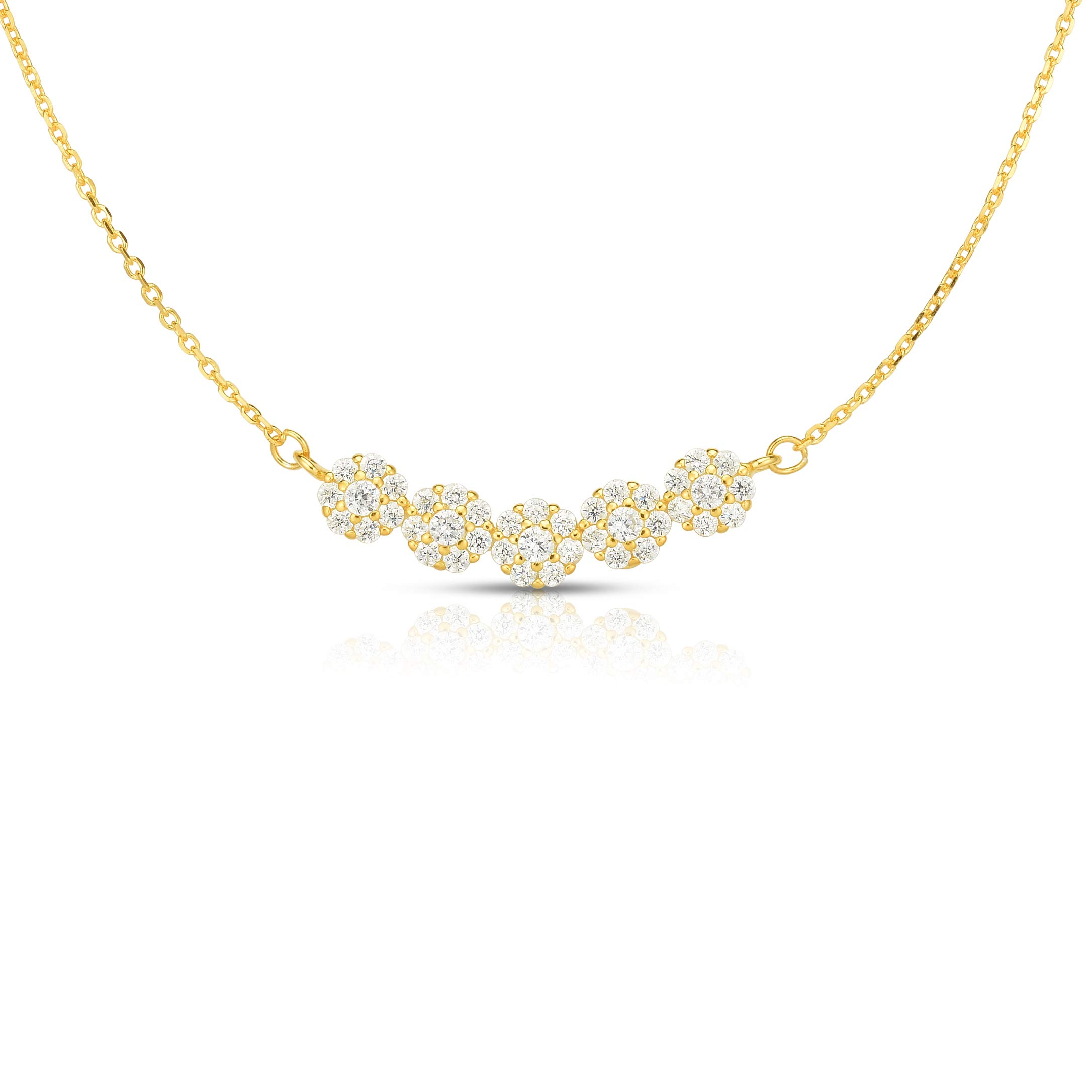 Unique Royal Jewelry 925 Sterling Silver 5 Flower Clusters Cubic Zirconia Adjustable Length Necklace 16'',17'' 18''. (14K Yellow Gold Plated)