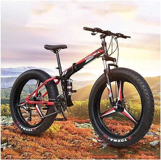 Bicicleta de Montaña Adultos, 26/24 Pulgadas Alto Contenido Carbono Suspensión Acero Bicicleta Completa Frenos Disco Doble Montaña Bicicleta Asiento Ajustable Muchachos Edad Fat Tire: Amazon.es: Jardín