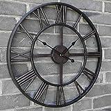 40CM Classic Vintage Stunning Metal Roman Numeral Clock - Black 'Iron'
