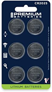 Premium Batteries Panasonic CR2025 3V Coin Cell Batteries Child-Safe (6 Pack)