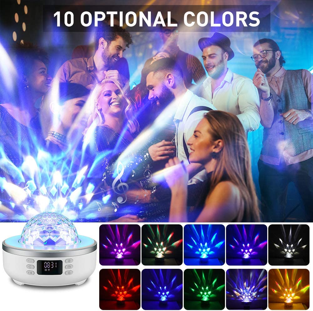 Star Projector Night Light Bluetooth Speaker 360 Degree Rotation Multicolor Changing Music Nursery Light Bedside Table Lamp with 6 Optional Films for Kids Adults Alarm Clock//TF Card//AUX Support
