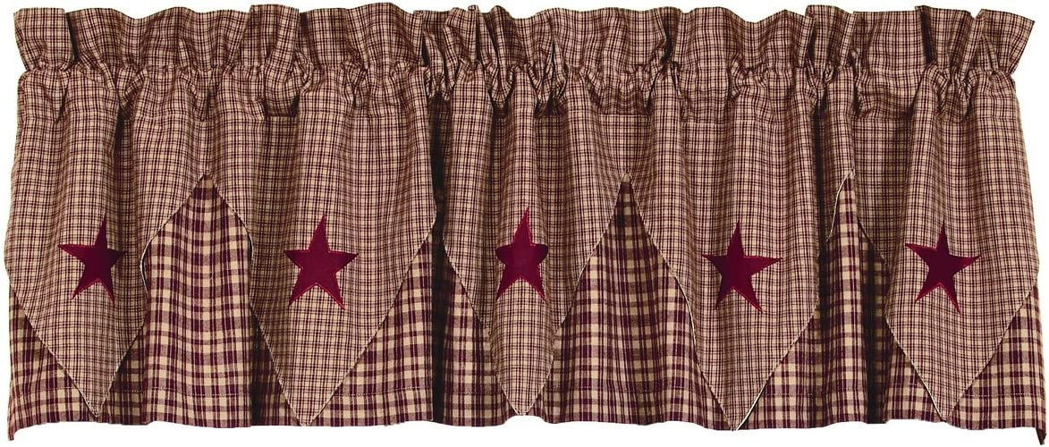 Olivia s Heartland Vintage Star Wine – Burgundy Pointed Valance