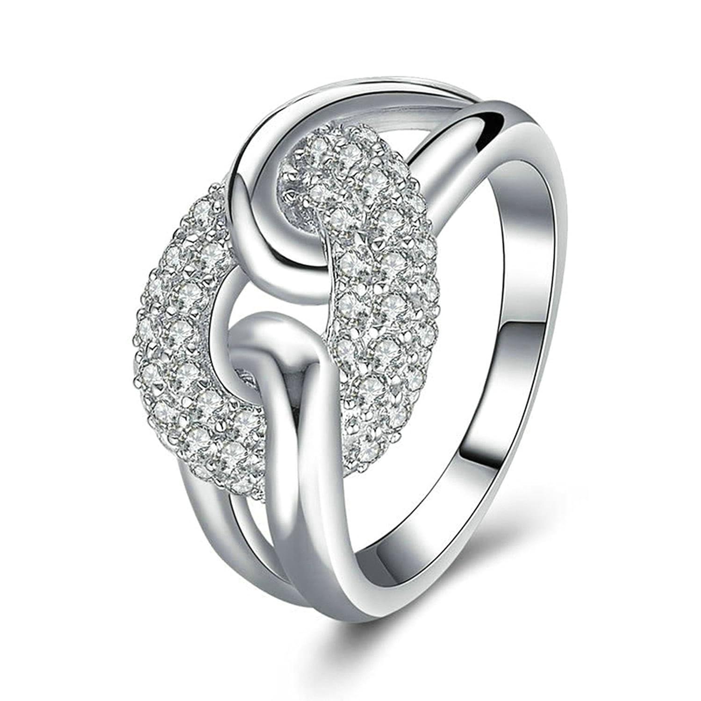 Anazoz 指輪 レディース シルバー 925 アクセサリー 「恋占い」 キラキラ グッドカット ダイヤモンド Cz 愛の指輪 恋人や友達にプレゼント 結婚指輪 サイズ: 16号 B07L1NRDZX 16