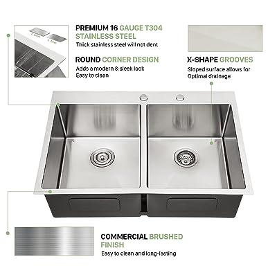 Buy 33 Inch Drop In Sink Beslend 33 X22 X10 Topmount Stainless Steel 16 Gauge Kitchen Sink 10 Inch Deep 50 50 Double Bowl Kitchen Sink Basin Online In Indonesia B08w396v9f
