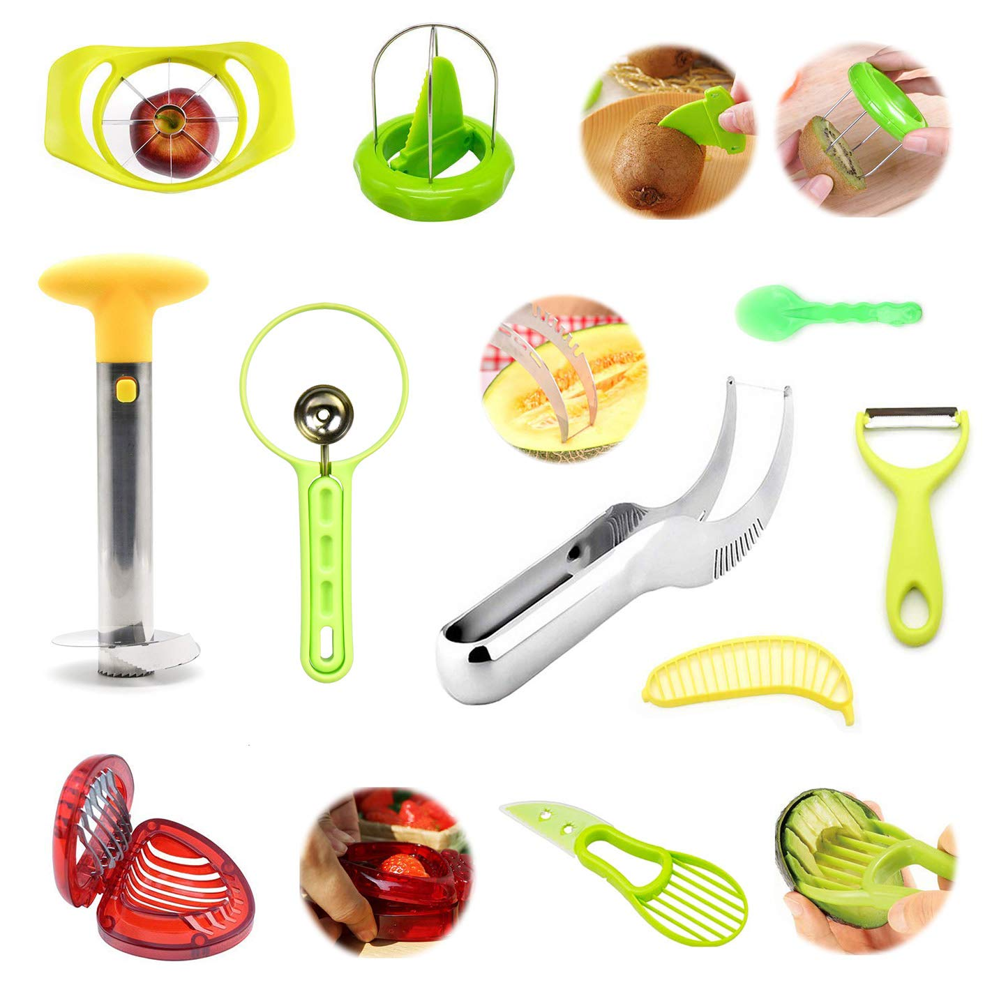 Fruit Slicer Peeler, tongtu Stainless Steel Slicer - 10pcs with Pineapple  Corer, Avocado Knife Strawberry Watermelon Banana Slicer, Cantaloupe Pawpaw