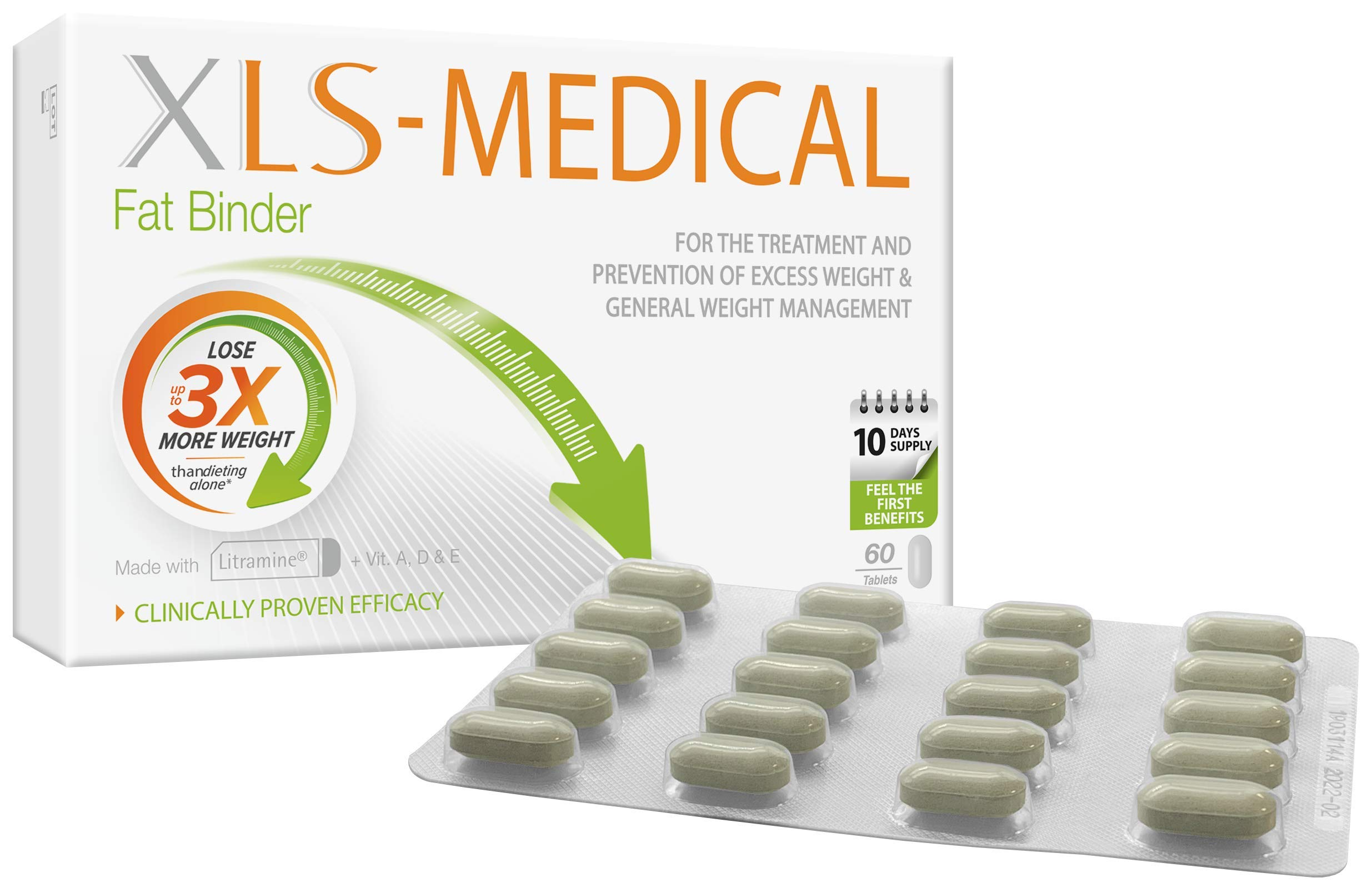 XLS Medical Fat Binder - Effective Weight Loss Aid to Reduce Calorie Intake - 60 Tablets, 10 Days
