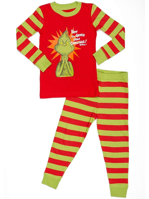 4ceb48272bab Amazon.com  Dr. Seuss How The Grinch Stole Christmas Cotton Pajama ...