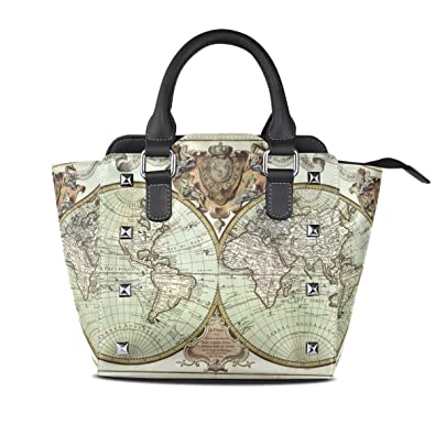 Amazon.com: Vintage World Map Leather Handbags Purses ... on map shirt, map shoes, map blouse, map wallet, map ipad case, map keychain, map phone case, map bathing suit, map suitcase, map jacket, map luggage,