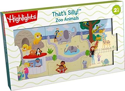 Amazon com: Highlights by HABA - That's Silly! Zoo Animals 9 Piece