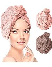 Hair Turban Towel, Dry Hair Cap Quick Drying Lady Towel Superfine Fiber Bath Head Wrap 2 Pack
