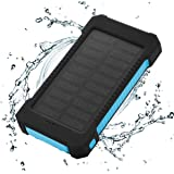 Solar Charger Power Bank 10,000mAh - FLOUREON Portable Phone Solar Charger Dual USB 1.0A/2.1A Max IP67 Waterproof LED SOS Flashlight External Battery for iPhone, iPad, Samsung Galaxy and Android Phone
