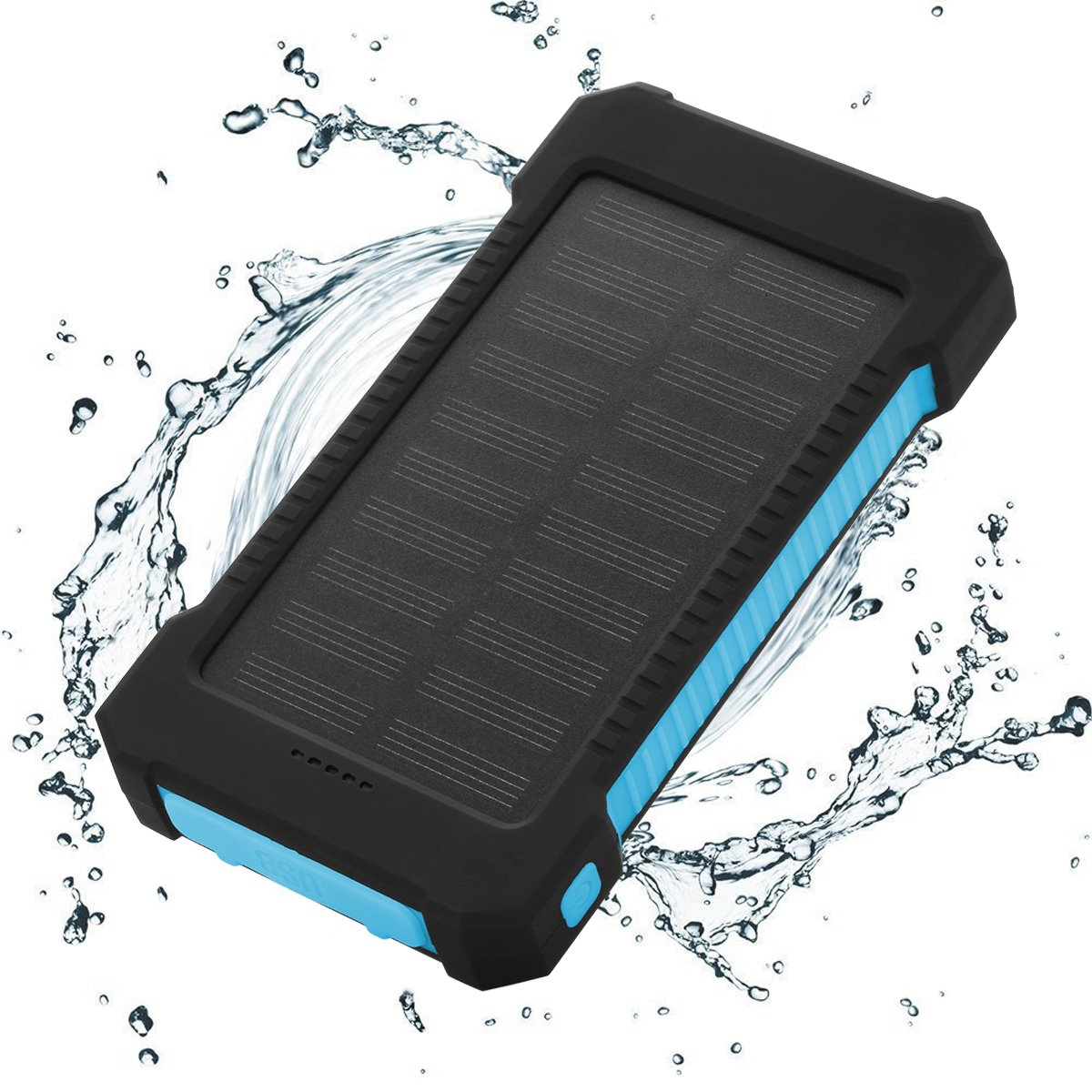 Solar Charger Power Bank 10,000mAh - FLOUREON Portable Phone Solar Charger Dual USB 1.0A/2.1A Max IP67 Waterproof LED SOS Flashlight External Battery for iPhone, iPad, Samsung Galaxy and Android Phone by floureon