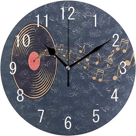 Image of Decoración para el hogar Nota Musical Colorida Reloj de Pared Redondo Reloj silencioso sin tictac