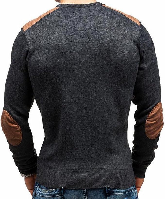 FLCH+YIGE Men/'s Knit Sweater Stylish Long Sleeve V-Neck Pullover