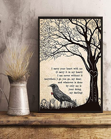 Gehua06 Song Lyric Print With Frame I Carry Your Heart With Me Song Lyrics Portrait Poster Print Dercor For Home Office Cafe And Hotel 14x12in Posters Prints
