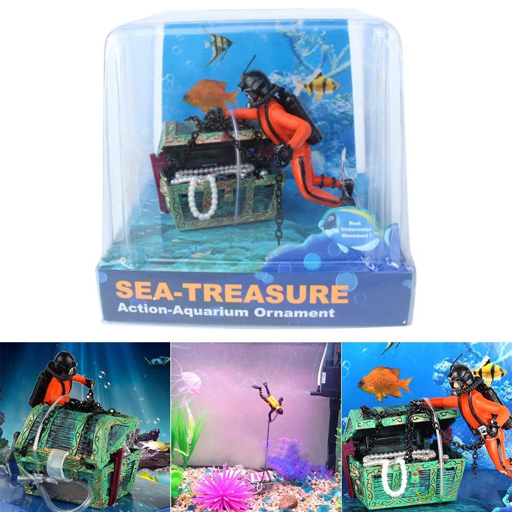 Amazon.com: MGhome Fish Tank Ornament Aquarium Landscape Hunter Treasure Decoration Creative Accessories (Orange): Health & Personal Care
