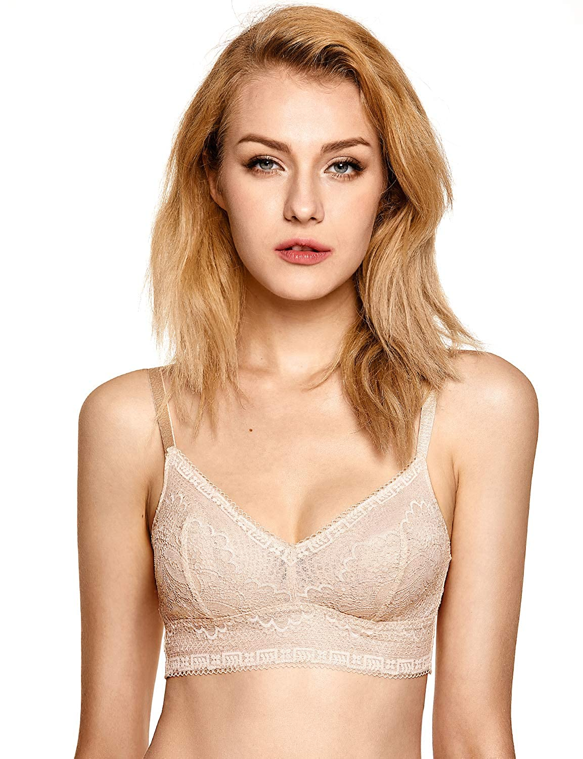 bdb6200e2a1db DOBREVA Women s Removable Pads Wirefree Longline Deep V Floral Lace Bralette  at Amazon Women s Clothing store